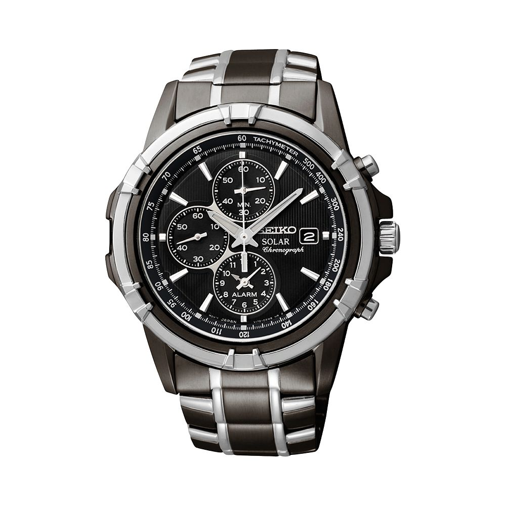 mens seiko watches watches kohl s seiko men s two tone stainless steel solar chronograph watch ssc143