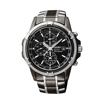 Seiko Men's Two Tone Stainless Steel Solar Chronograph Watch - SSC143