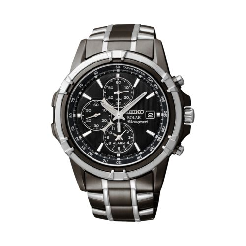 Seiko Solar Two Tone Stainless Steel Chronograph Watch - SSC143 - Men