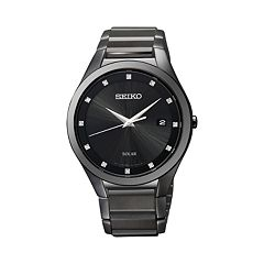 Seiko Men's Diamond Stainless Steel Solar Watch - SNE243 - Men
