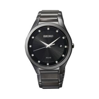 Seiko Men's Diamond Stainless Steel Solar Watch - SNE243 - Men