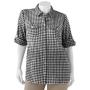 Croft and Barrow Gingham Pucker Shirt - Women's Plus