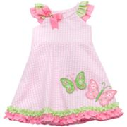 Rare Editions Butterfly Checked Seersucker Sundress - Newborn