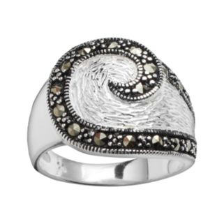 Silver Plated Marcasite Swirl Ring