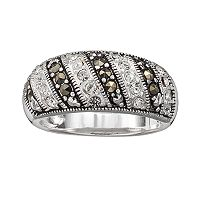 Silver Plated Cubic Zirconia & Marcasite Stripe Ring