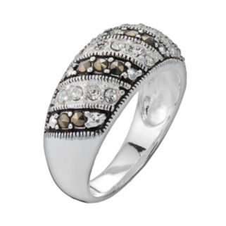 Silver Plated Cubic Zirconia and Marcasite Stripe Ring