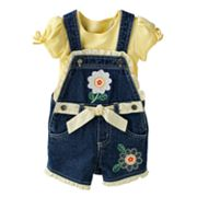 Cradle Togs Floral Denim Shortalls and Top Set - Baby
