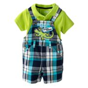 Cradle Togs Gecko Plaid Shortalls and Polo Set - Baby