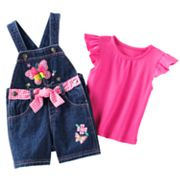 Cradle Togs Butterfly Denim Shortalls and Ruffled Top Set - Baby