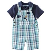 Cradle Togs Dog Plaid Shortalls and Solid Polo Set - Baby
