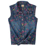 Mudd Floral Tie-Front Denim Tank - Girls 4-6x