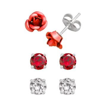 Sterling Silver & Red Aluminum Rose & Cubic Zirconia Stud Earring Set