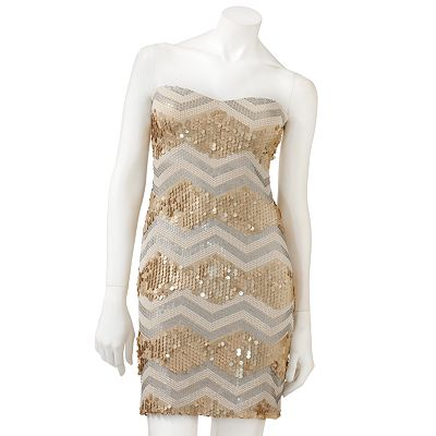 Lily Rose Geometric Sequin Tube Dress - Juniors