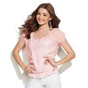 Candie's Lace Peasant Top