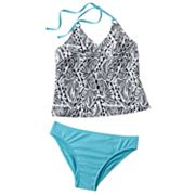 Mudd Abstract 2-pc. Halterkini Swimsuit Set - Girls Plus