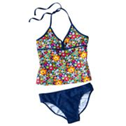 Mudd Floral 2-pc. Halterkini Swimsuit Set - Girls Plus
