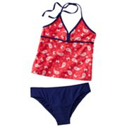 Mudd Paisley 2-pc. Halterkini Swimsuit Set - Girls Plus