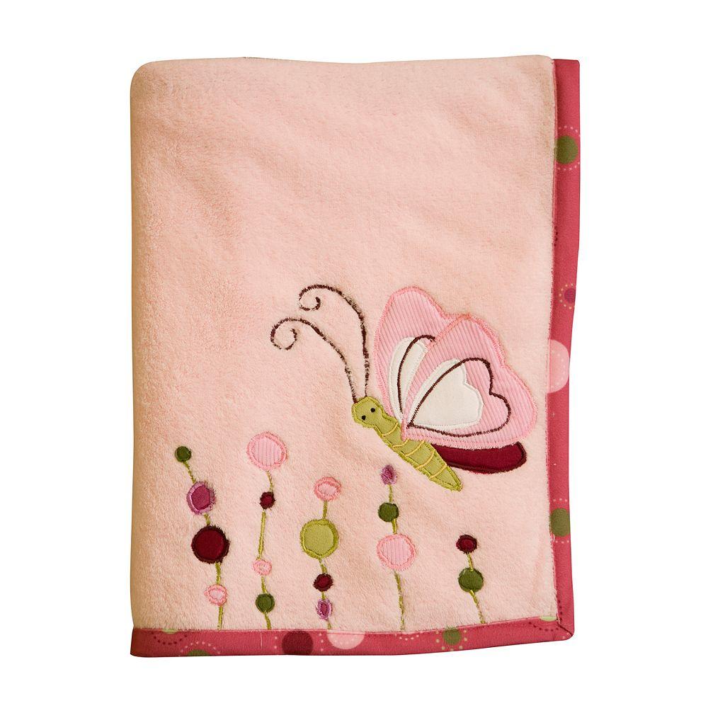 Lambs & Ivy Raspberry Swirl Fleece Blanket