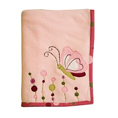 Lambs & Ivy Raspberry Swirl Fleece Blanket