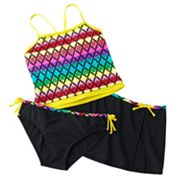 Malibu Dream Girl Rainbow 3-pc. Tankini Swimsuit Set - Girls Plus