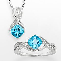 Sterling Silver Blue Topaz & Diamond Accent Ribbon Pendant & Ring Set by