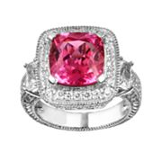 Sterling Silver Lab-Created Pink and White Sapphire Ring