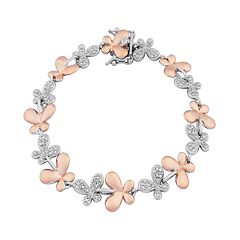 18k Rose Gold Over Silver & Sterling Silver Diamond Accent Butterfly Link Bracelet