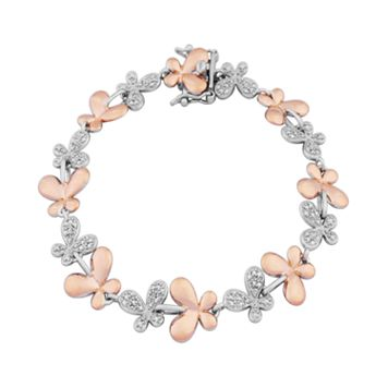 18k Rose Gold Over Silver & Sterling Silver Diamond Accent Butterfly Link Bracelet