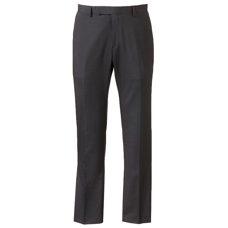 Marc Anthony Slim-Fit Pindot Flat-Front Black Suit Pants