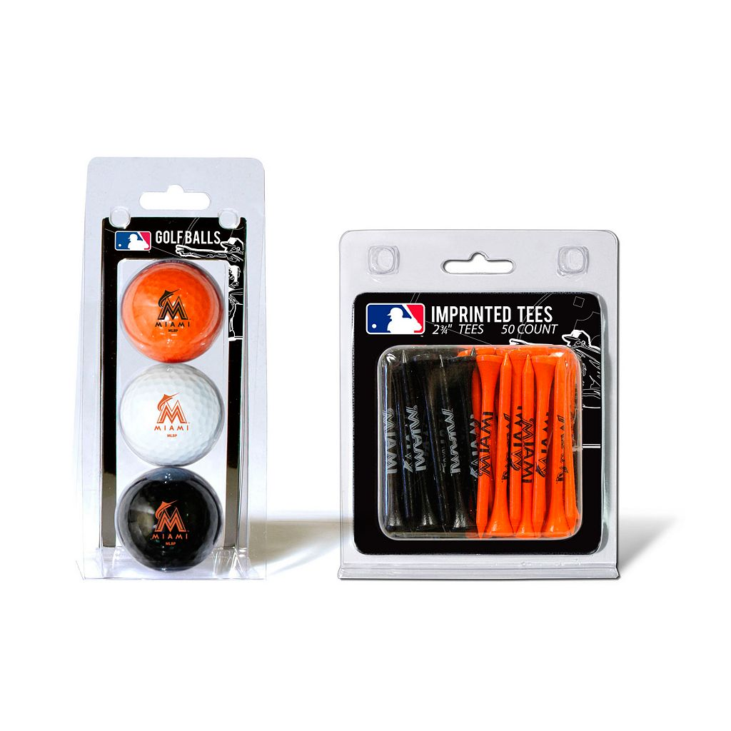 Team Golf Miami Marlins Ball & Tee Set