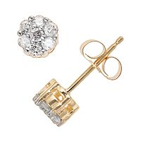 10k Gold 1/4 Carat T.W. Diamond Cluster Stud Earrings