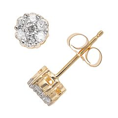 10k Gold 1 4 Carat T W Diamond Cer Stud Earrings