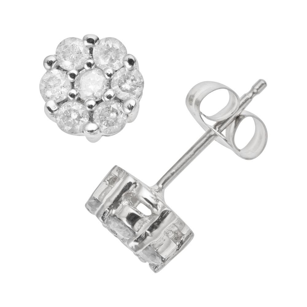 white gold 1 2 carat t w diamond cluster stud earrings