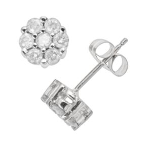 10k White Gold 1/2 Carat T.W. Diamond Cluster Stud Earrings
