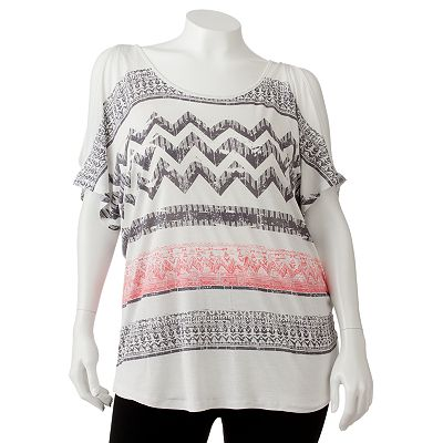 Mudd Zigzag Cold-Shoulder Top - Juniors' Plus