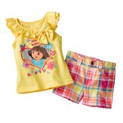 Dora the Explorer Ruffled Top and Plaid Shorts Set - Baby