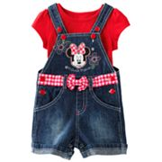 Disney Mickey Mouse and Friends Minnie Mouse Denim Shortalls and Solid Tee Set - Baby