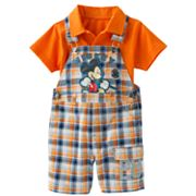 Disney Mickey Mouse and Friends Mickey Mouse Plaid Shortalls and Solid Polo Set - Baby