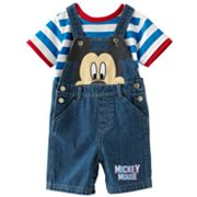 Disney Mickey Mouse and Friends Mickey Mouse Denim Shortalls and Striped Tee Set - Baby