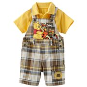 Disney Winnie the Pooh and Friends Plaid Shortalls and Solid Polo Set - Baby