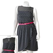 Wrapper Polka-Dot Yoke Dress - Juniors' Plus