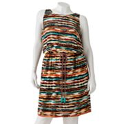 Wrapper Striped Sleeveless Dress - Juniors' Plus