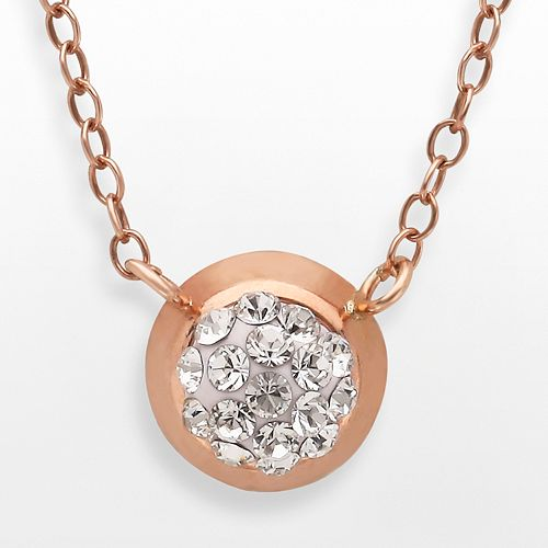 14K Rose Gold Over Silver Crystal Necklace