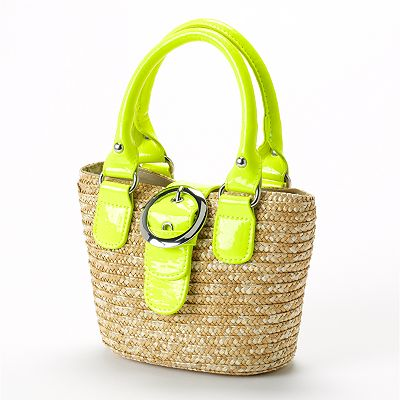 Toby Neon Straw Tote - Girls