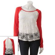 Speechless Lace Raglan Top - Juniors