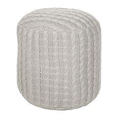 Artisan Weaver Artas Cable-Knit Pouf