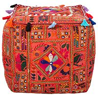 Artisan Weaver Embroidered Patchwork Pouf