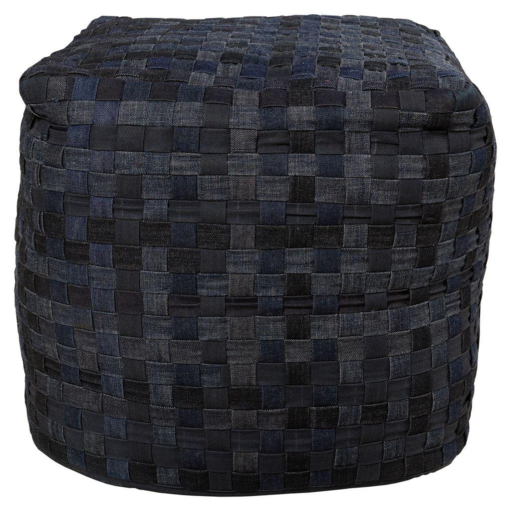 Artisan Weaver Point Basket Weave Pouf