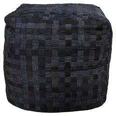 Artisan Weaver Point Basket Weave Pouf
