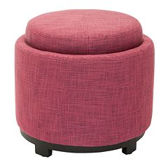 Safavieh Chelsea Round Single Tray Storage Ottoman